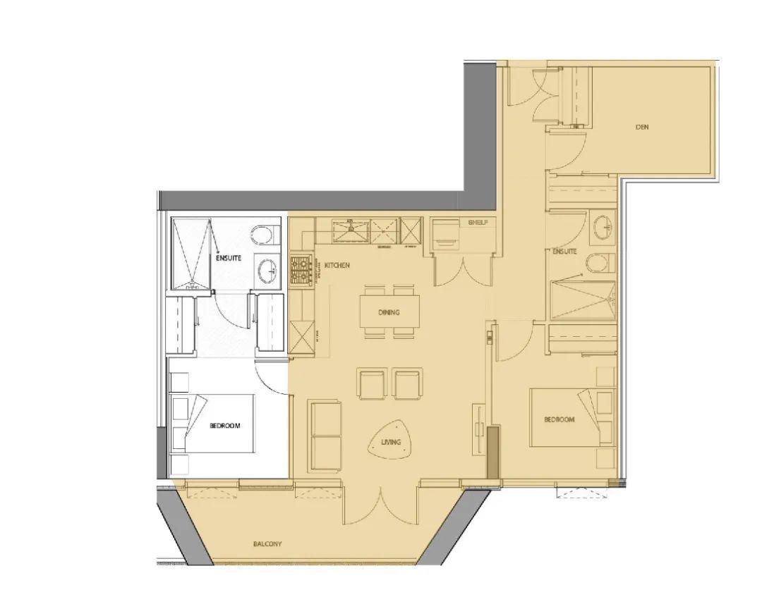 95折限时优惠!入住列治文中心地段,可做3房的正南朝向2房+Den | 户型赏析