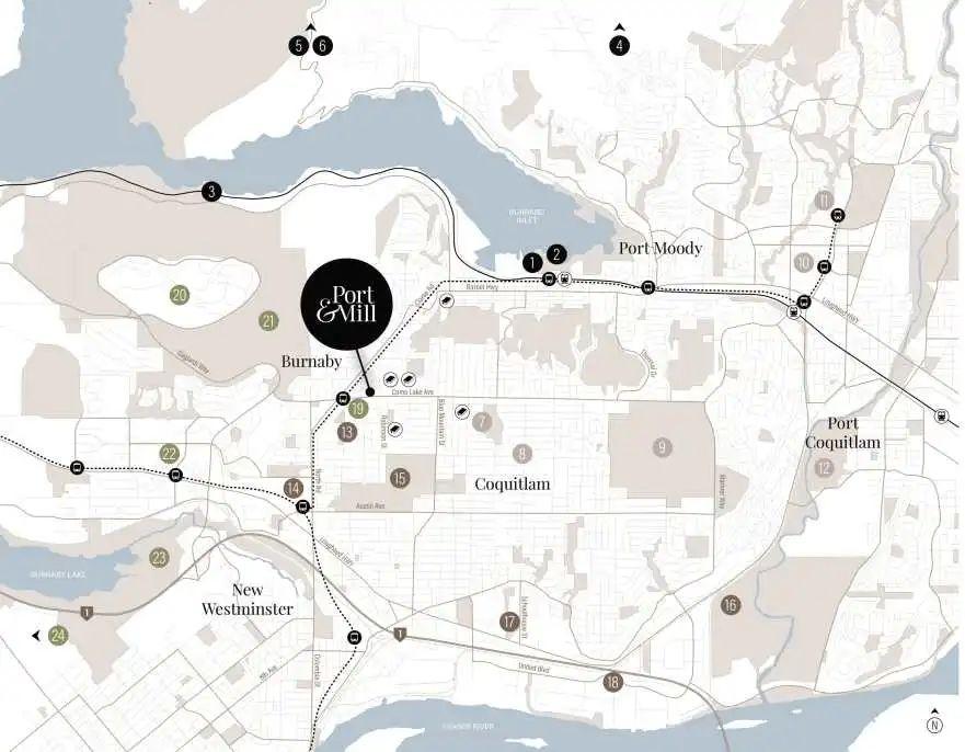 起价低至$40.49万,5分钟步行达Burquitlam天车站,入住周边公园遍布的方正公寓